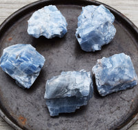 BLUE CALCITE Raw Natural Crystal - Intuition & Psychic Development
