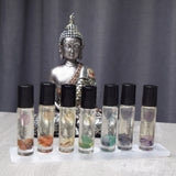 Throat Chakra Oil - Vanilla Sandalwood Scent + Crystal Quartz & Amazonite - Share Your Wisdom, Speak, Teach, Write
