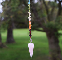 ROSE QUARTZ Pendulum - 7 Chakra Color Chip Stones with Rose Quartz Crystal Point