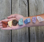 Chakra Crystals Set of 7 Raw Rough Natural Chakra Stones - Balance Your Chakras