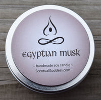 EGYPTIAN MUSK CANDLE - Clean Slightly Woody Sultry Musk Scented Soy Candle - Earthy Hippie Boho
