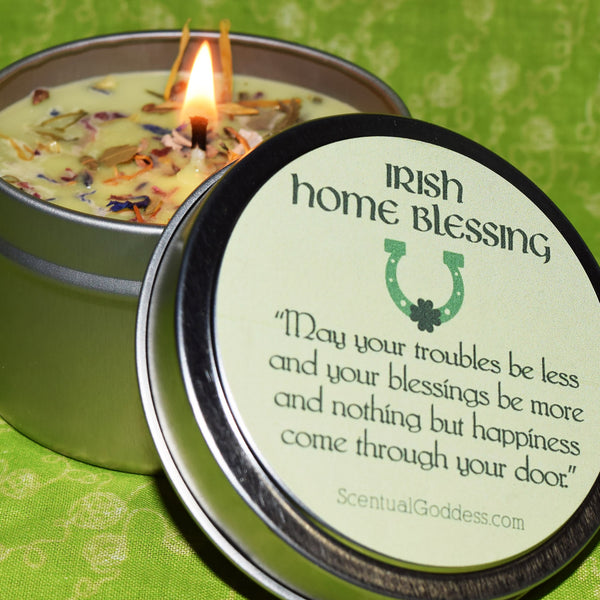 Irish Home Blessing Candle with Irish Saying Lucky Horseshoe & Green Shamrock - Housewarming Gift