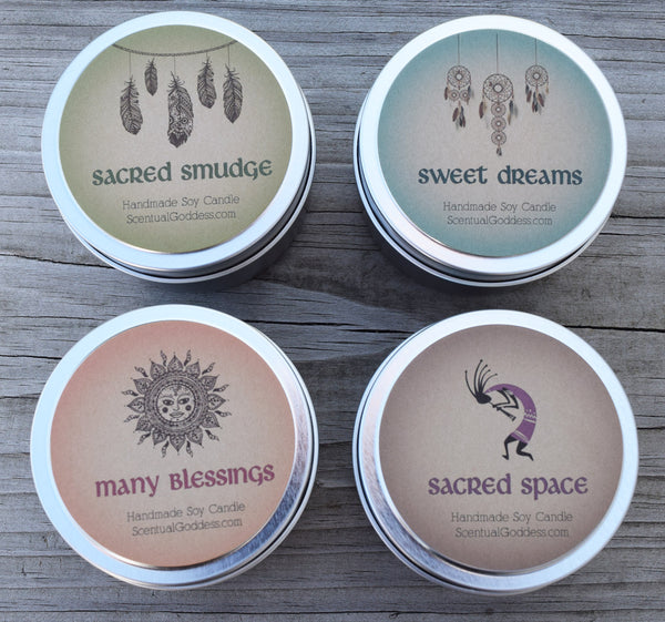 Enlightened Soul Candles Set of 4 - Sacred Smudge, Sweet Dreams, Many Blessings & Sacred Space