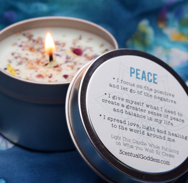 PEACE Candle - Handmade Intention Candle for Inner Peace, Balance & Harmony - Wishes of World Peace