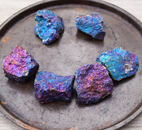 PEACOCK ORE Happiness Stone, Colorful Raw Rainbow Chalcopyrite Chunk