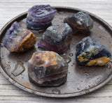 RAINBOW FLUORITE Raw Crystal Chunk - Natural Rough Purple & Green Fluorite