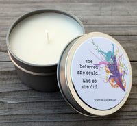 She Believed She Could And So She Did Inspirational Candle - Congratulations, Girl Boss, Big Achievement, Gift of Encouragement