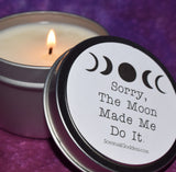 The Moon Made Me Do It Jar Candle with Moonstone In The Wax - Funny Candle, Friend Gift, Moon Cycles