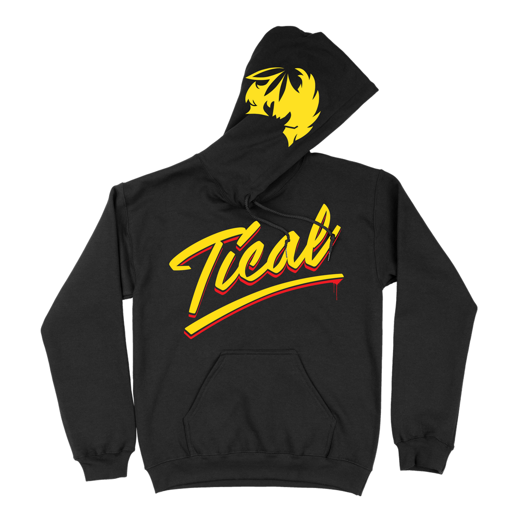 TICAL Hand Lettered Pullover Hoodie Black and Yellow