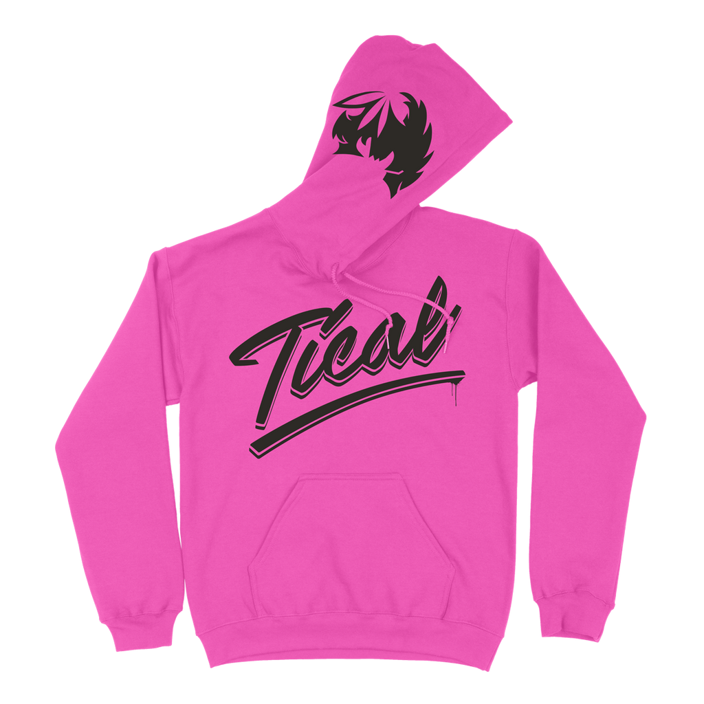 TICAL Hand Lettered Pullover Hoodie Hot Pink