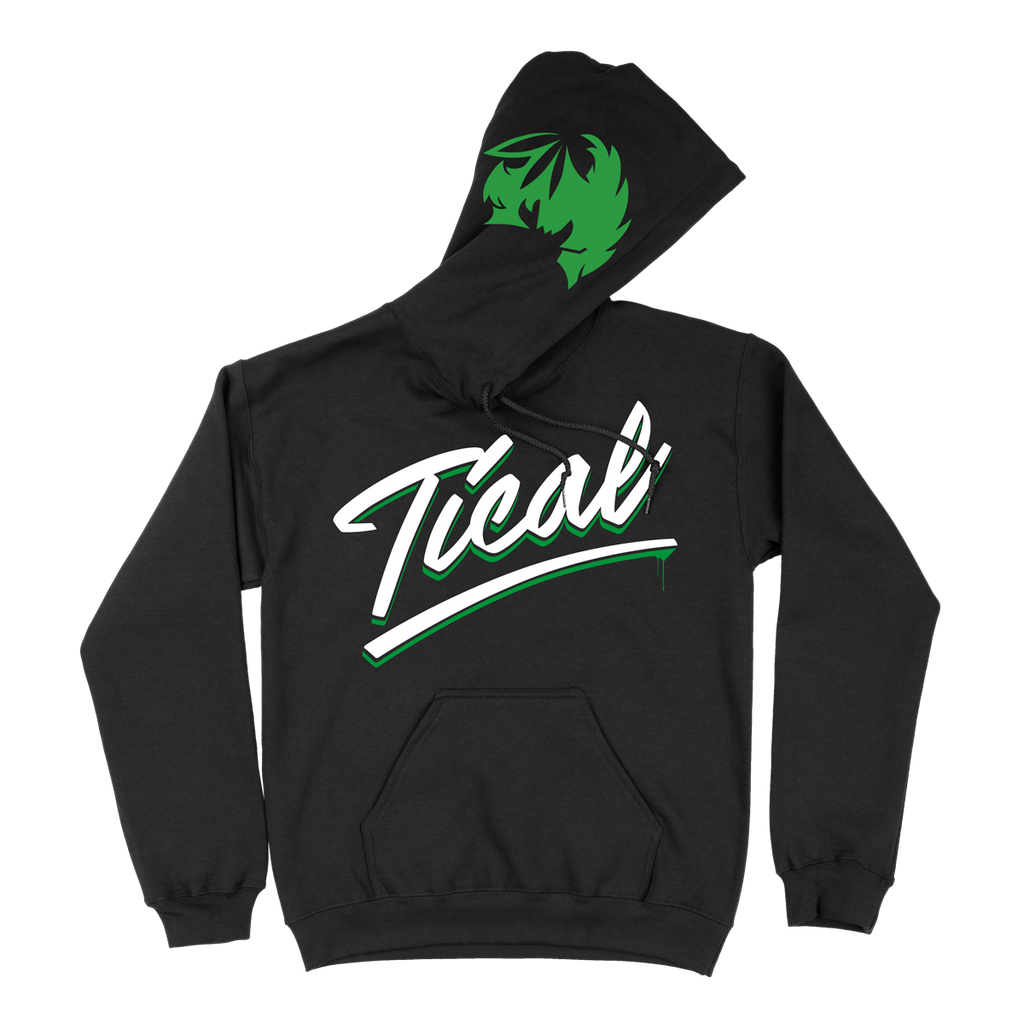 TICAL Hand Lettered Pullover Hoodie Black and Green