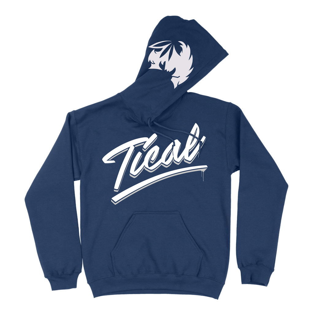 TICAL Hand Lettered Pullover Hoodie Navy and White