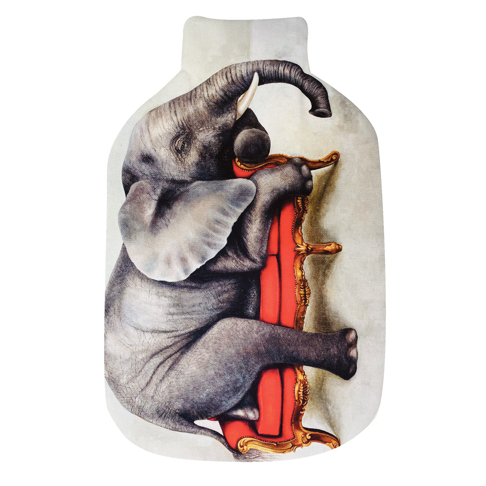 Wildlife At Leisure: Elephant Hot Water Bottle Cover & Rubber Bottle
