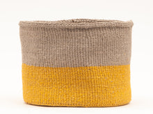 Load image into Gallery viewer, GHAFLA : Yellow & Grey Duo Colour Block Woven Basket