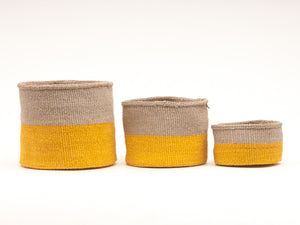 GHAFLA : Yellow & Grey Duo Colour Block Woven Basket