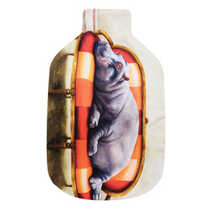 Wildlife At Leisure: Hippo Hot Water Bottle Cover & Rubber Bottle