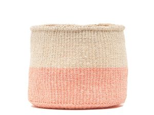 JIONI: Dusky Pink Colour Block Woven Basket