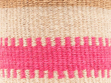 Load image into Gallery viewer, KUZUIA: Fluoro Pink and Natural Woven Storage Basket