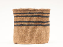 Load image into Gallery viewer, LAINI: Thin Stripe Charcoal Black & Natural Woven Storage Basket (3 variants)