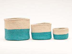 LAZIMA: Turquoise Colour Block Woven Basket