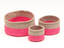 Load image into Gallery viewer, MALIZA: Grey & Fluoro Pink Colour Block Woven Basket