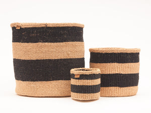 MCHORO: Charcoal and Sand Woven Storage Basket