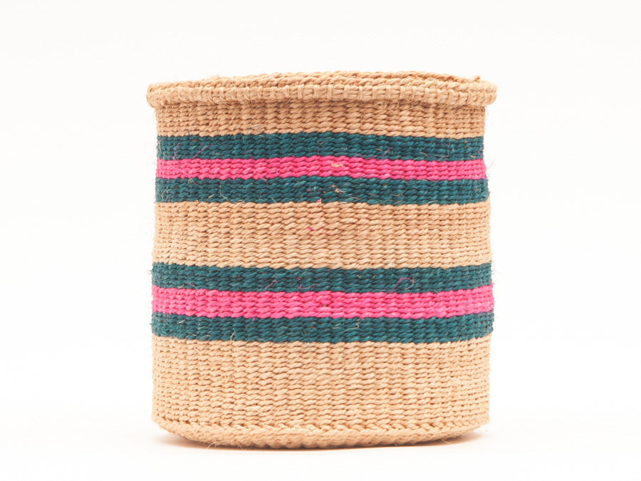 NDOTO: Turquoise, Pink and Sand Woven Storage Basket