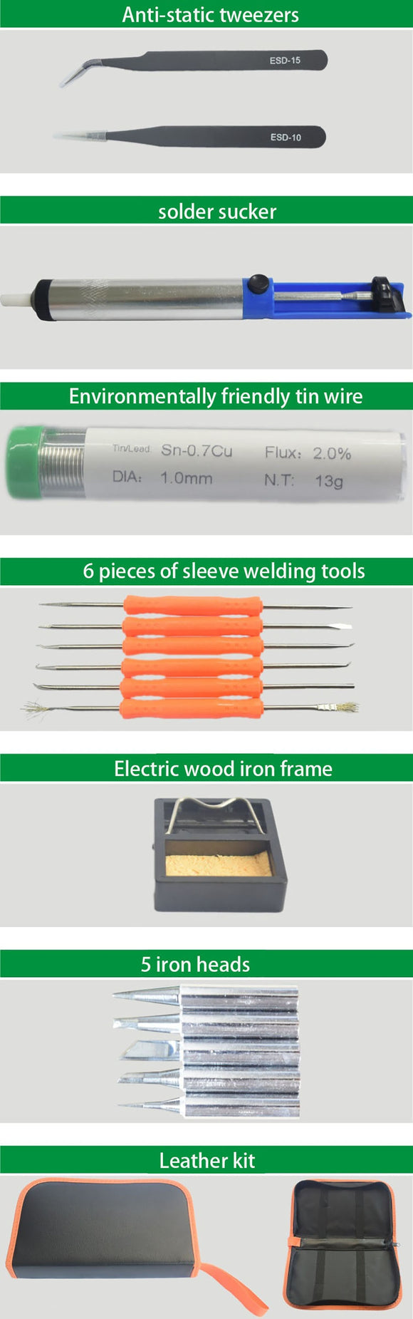 19pcs Electric Soldering iron Thermostatic 60W 110V-220V Solder Station Iron Stand Solder Wire tweezers Welding Repair Tool Kit