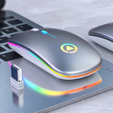 LED Backlit Rechargeable Wireless Silent Mouse USB Mouse Ergonomic Optical Gaming Mouse Desktop PC Laptop Mouse