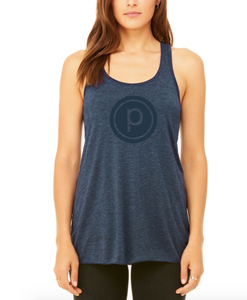 HEATHERED NAVY FLOWY TANK