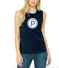 Load image into Gallery viewer, NAVY LOGO MUSCLE TANK