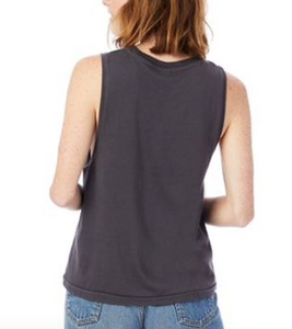 CIRCLE P JERSEY MUSCLE TOP - DARK GREY