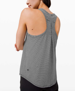 LULULEMON PLEATED BACK TANK - TONKA STRIPE