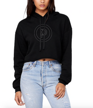 Load image into Gallery viewer, CIRCLE P CROP HOODIE - BLACK/SILVER FOIL