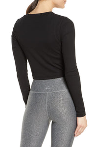 BEYOND YOGA RIBBED LONG SLEEVE CROP PULLOVER