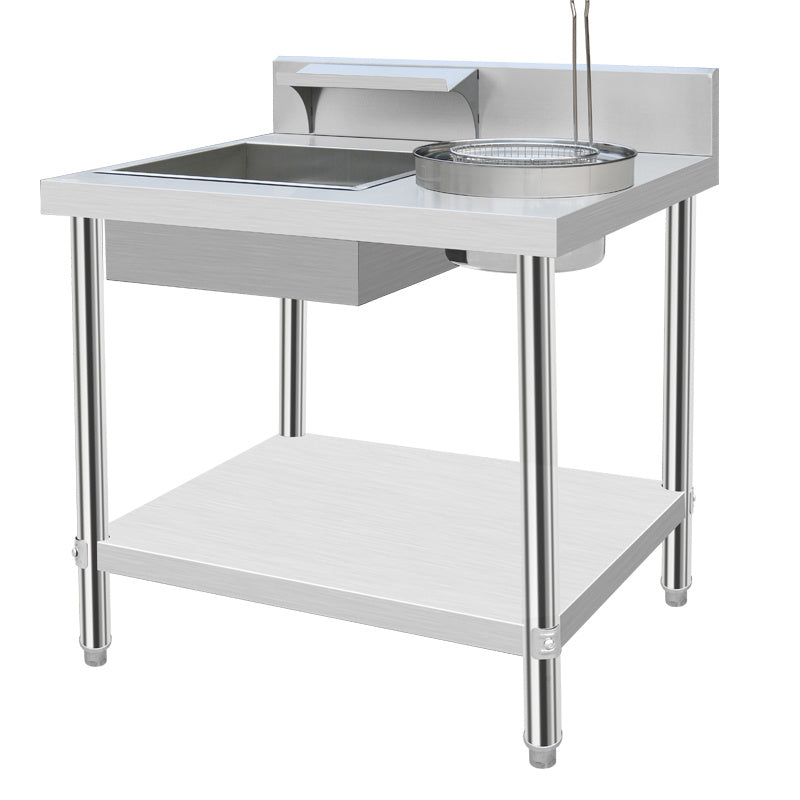 Commercial Stainless Steel Workbench Prep Table Breaded Shelf