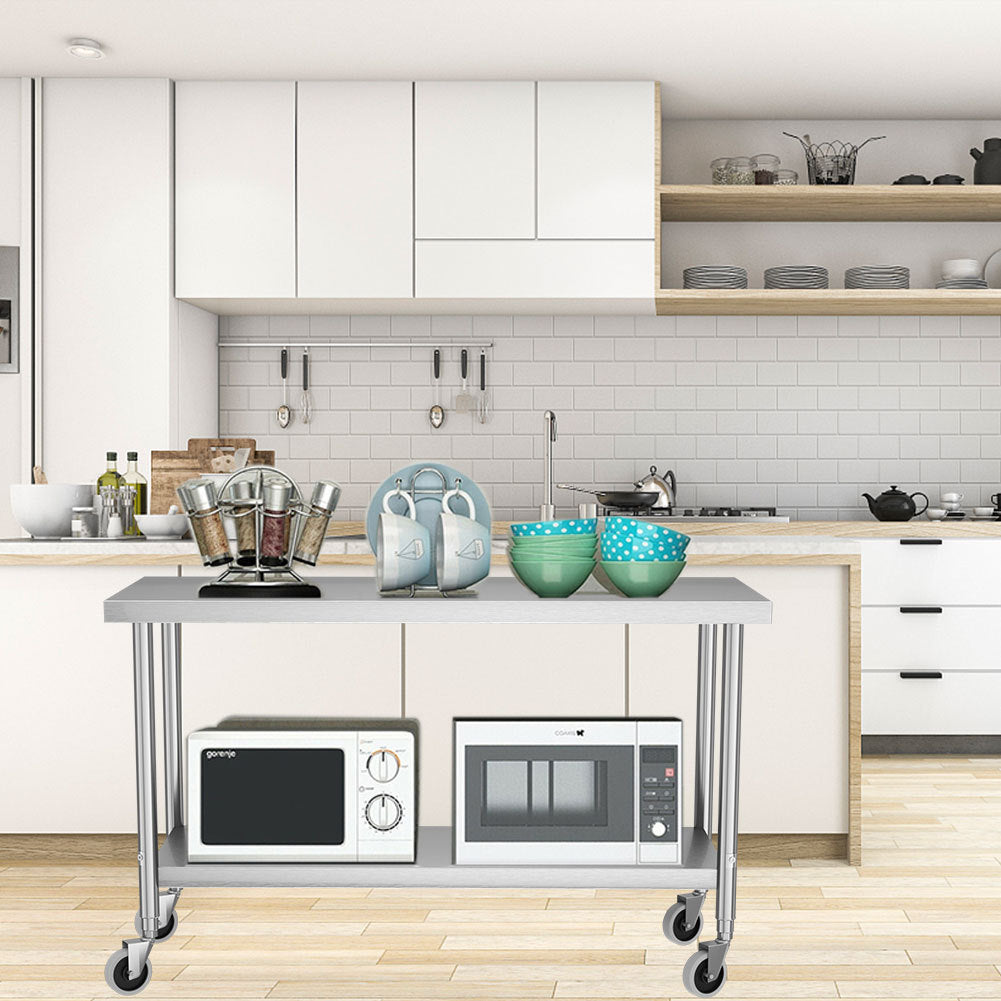 Stainless Steel Commercial Kitchen Cart Prep Catering Table