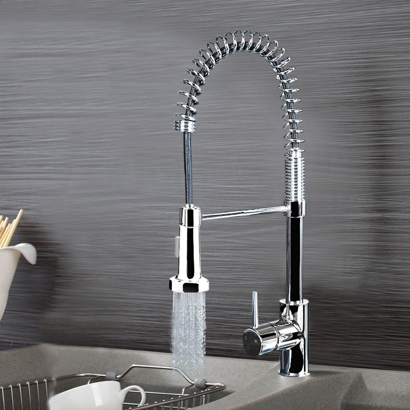 Modern Chrome Brass Kitchen Sink Pull Out Stream/Spray Faucet Mixer Tap