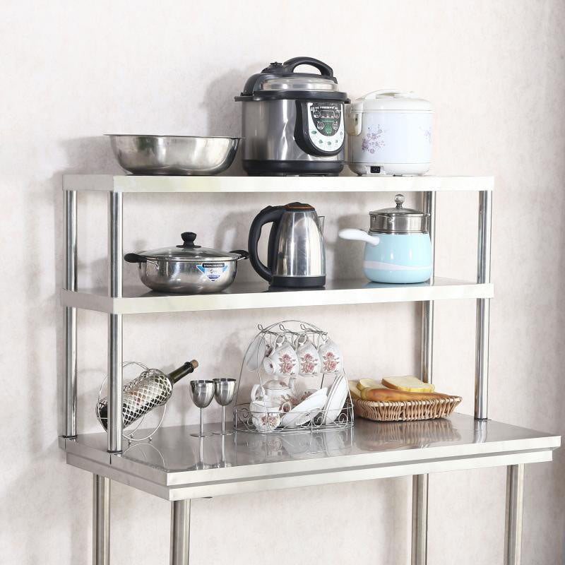 1/2Tier Stainless Steel Over Shelf Commercial Kitchen Table Top Shelf