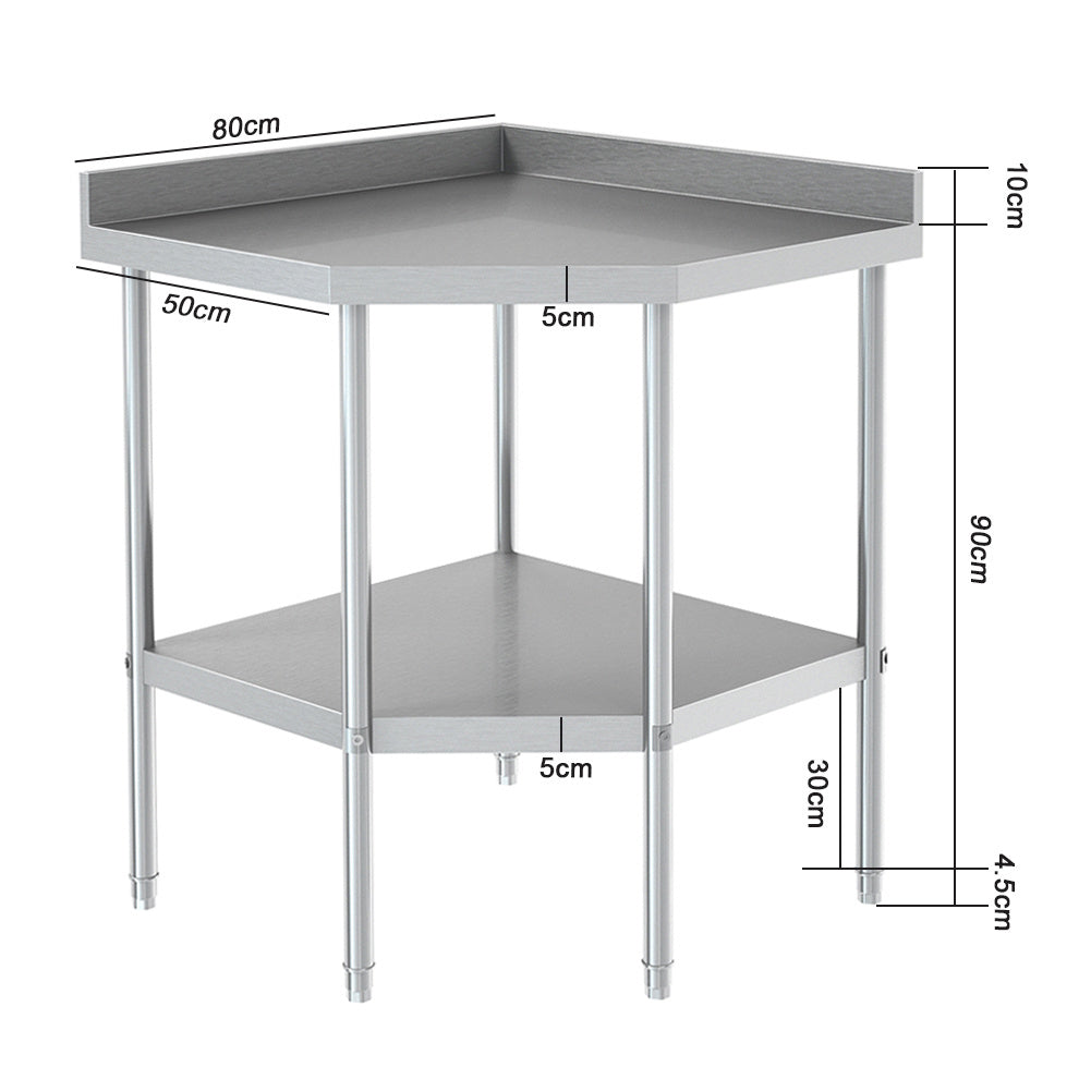 Kitchen Storage Shelf Stainless Steel Corner Table Food Prep Bench Backsplash