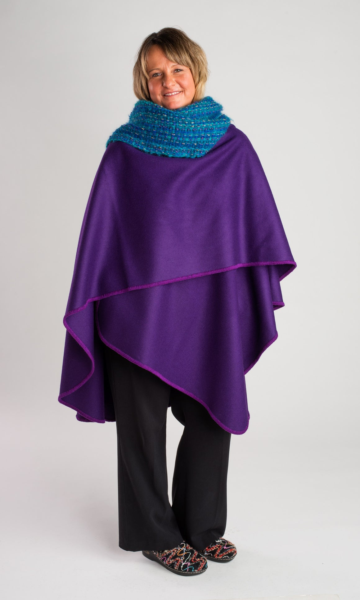 Calendar Island Merino Wool Shawl - Royal Purple