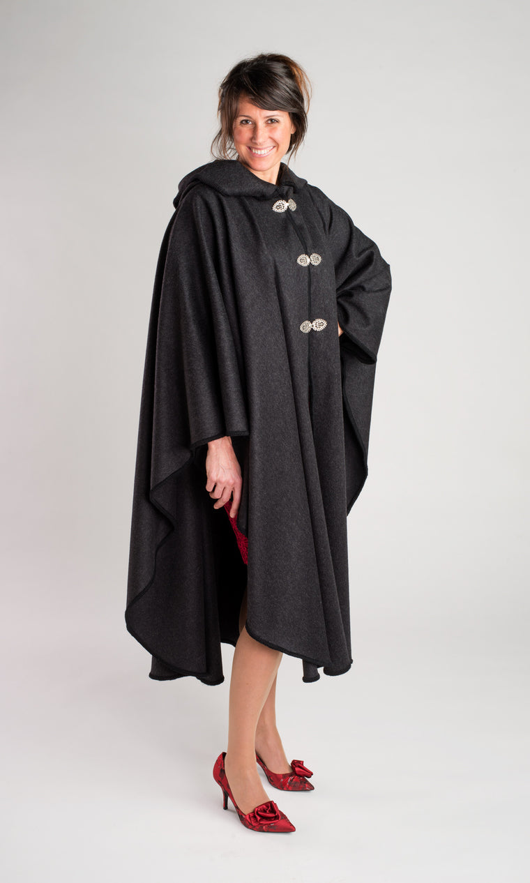 Casco Bay Cape - Cashmere Merino blend in Charcoal Grey only