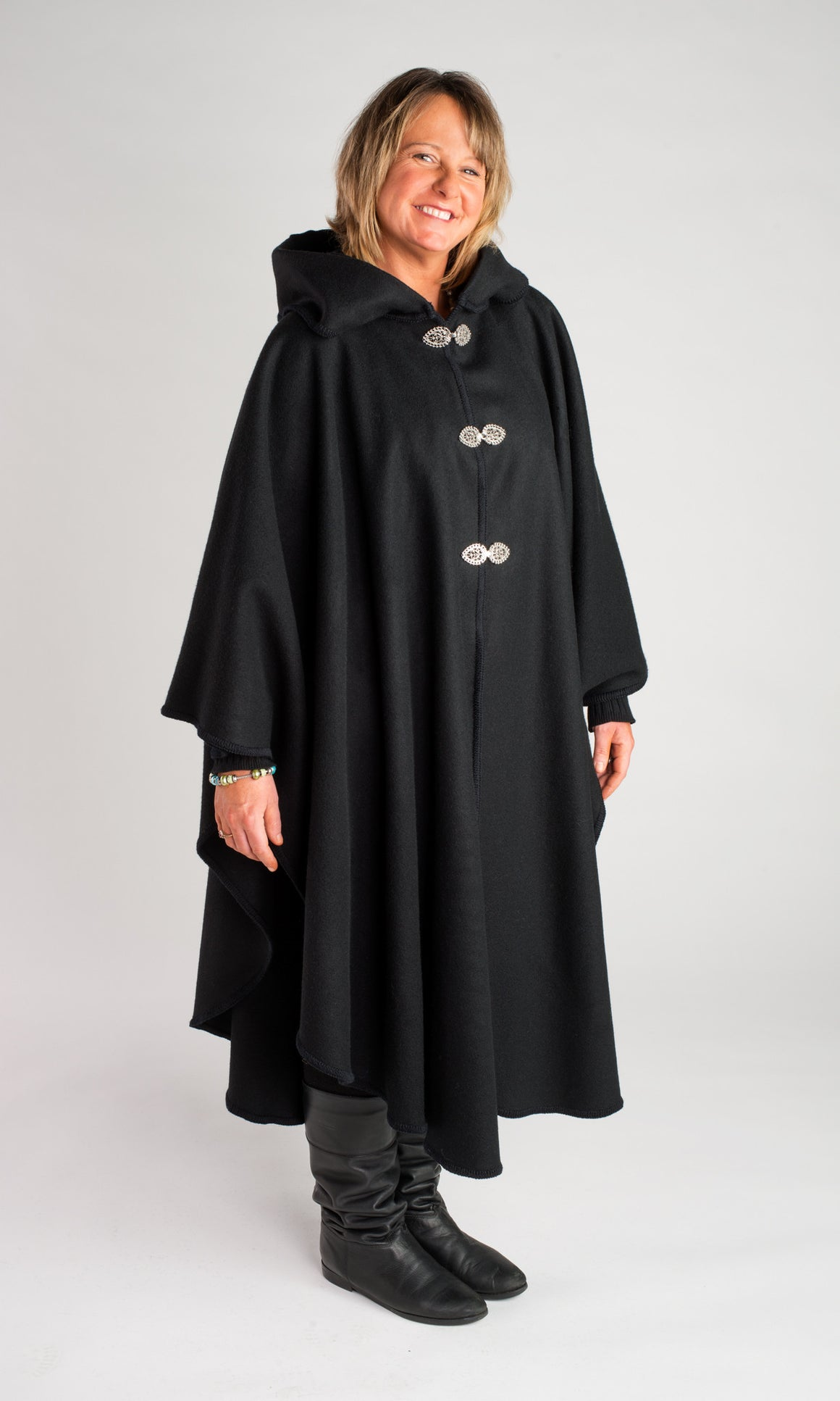Casco Bay Merino Wool Cape - Midnight Black