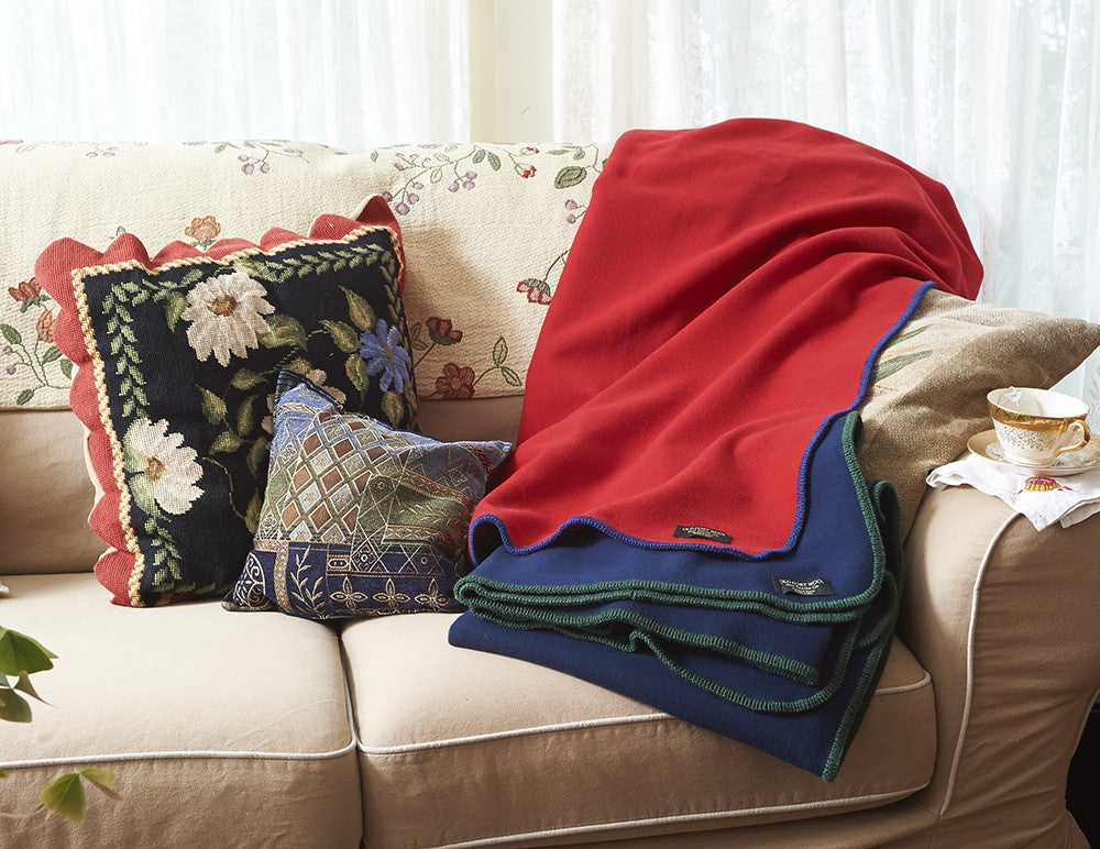 Welcome Home Throws - Merino Wool, Cardinal Red, Navy Blue
