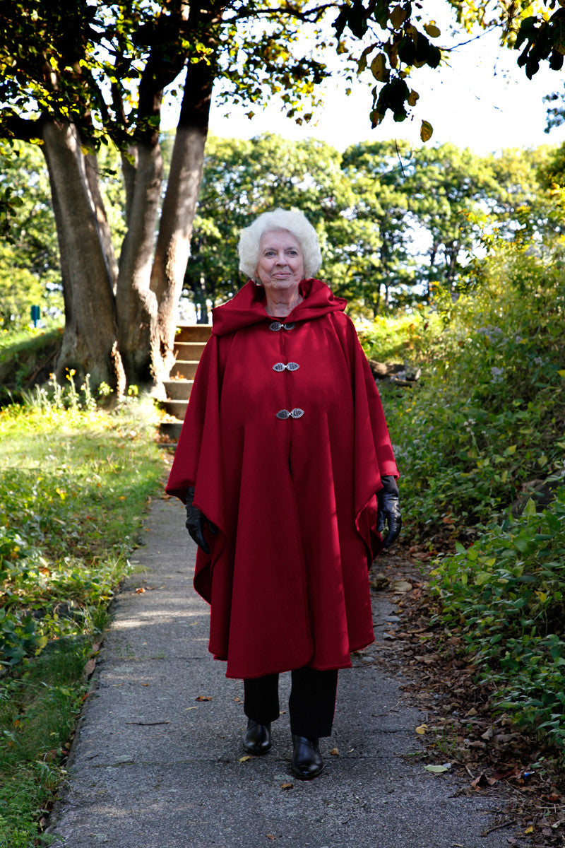 Portlander Wool Cape - Red Handmade by Old Port Wool and Textile Company