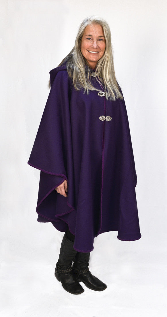 Casco Bay Merino Wool Cape - Royal Purple