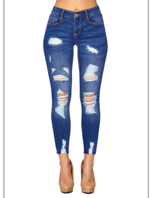 Ankle Distress Skinny Jeans