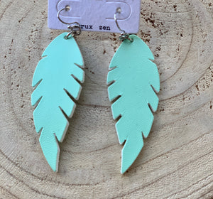 Mint Green Leaf Earrings