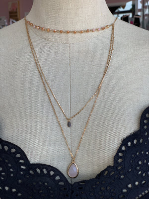 3 Layer Pink Stone Necklace