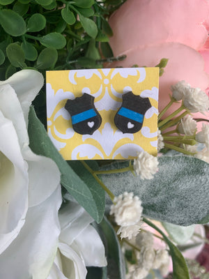 Thin Blue line Earrings